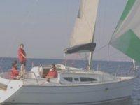 Sulla barca con lo skipper