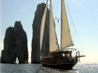 At sea on a sailing boat
