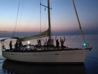 by boat at dawn