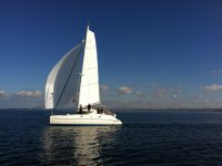 By sea in catamaran